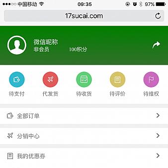 手机微信商城个人中心页面模板
