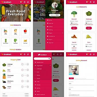 响应式的水果蔬菜超市手机商城模板