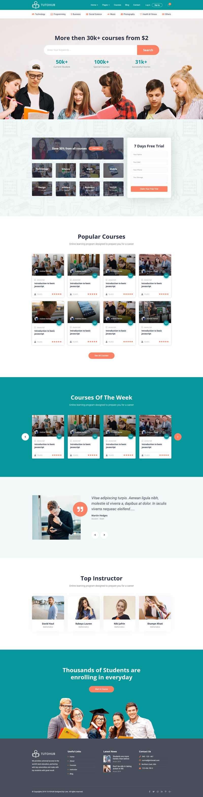 在线学习教育平台网页模板