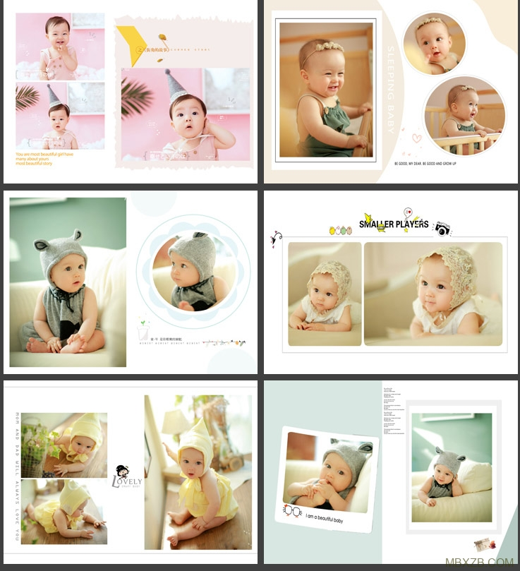 儿童相册模板PSD竖版2019时尚摄影宝宝照n8套版简洁排版设计素材