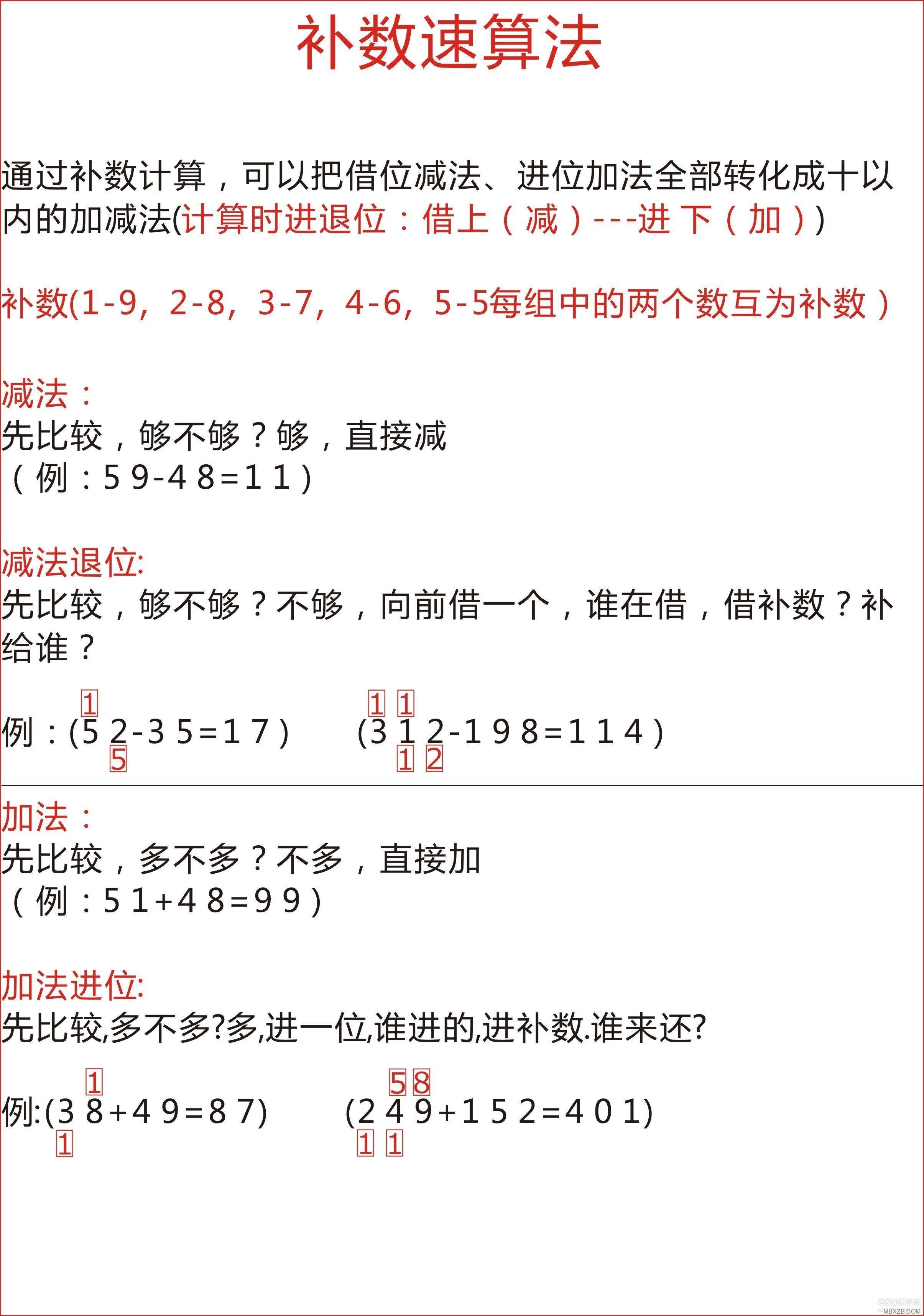 小学1-3年级加减速算到心算练习方法(熟练后9位数加减都是小儿科)