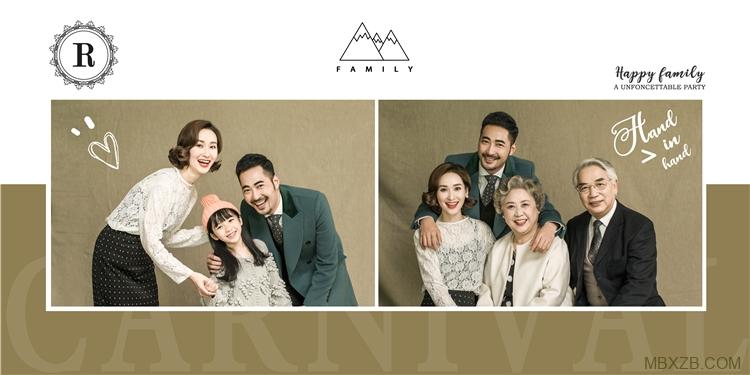 高端时尚大气全家福亲子相册影楼摄影分层设计PSD模板素材